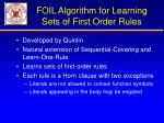 foil algorithm for learning sets of first order rules