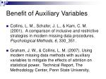 benefit of auxiliary variables