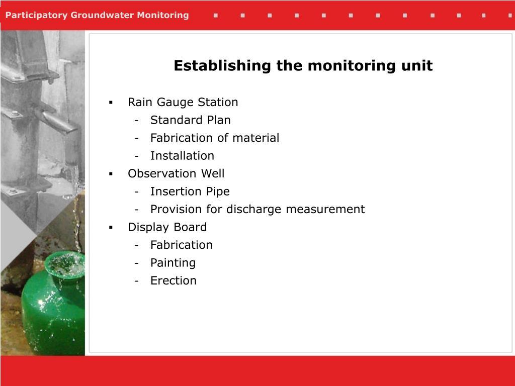 Establishing the monitoring unit