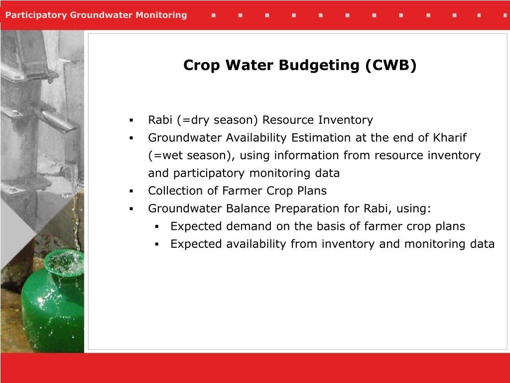 Rabi (=dry season) Resource Inventory