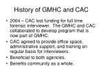 history of gmhc and cac