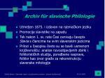 archiv f r slavische philologie
