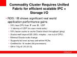 commodity cluster requires unified fabric for efficient scalable ipc storage i o
