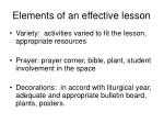 elements of an effective lesson12