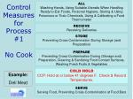 control measures for process 1 no cook