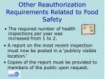other reauthorization requirements related to food safety