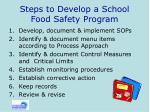 steps to develop a school food safety program