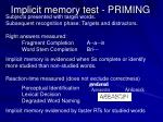 implicit memory test priming