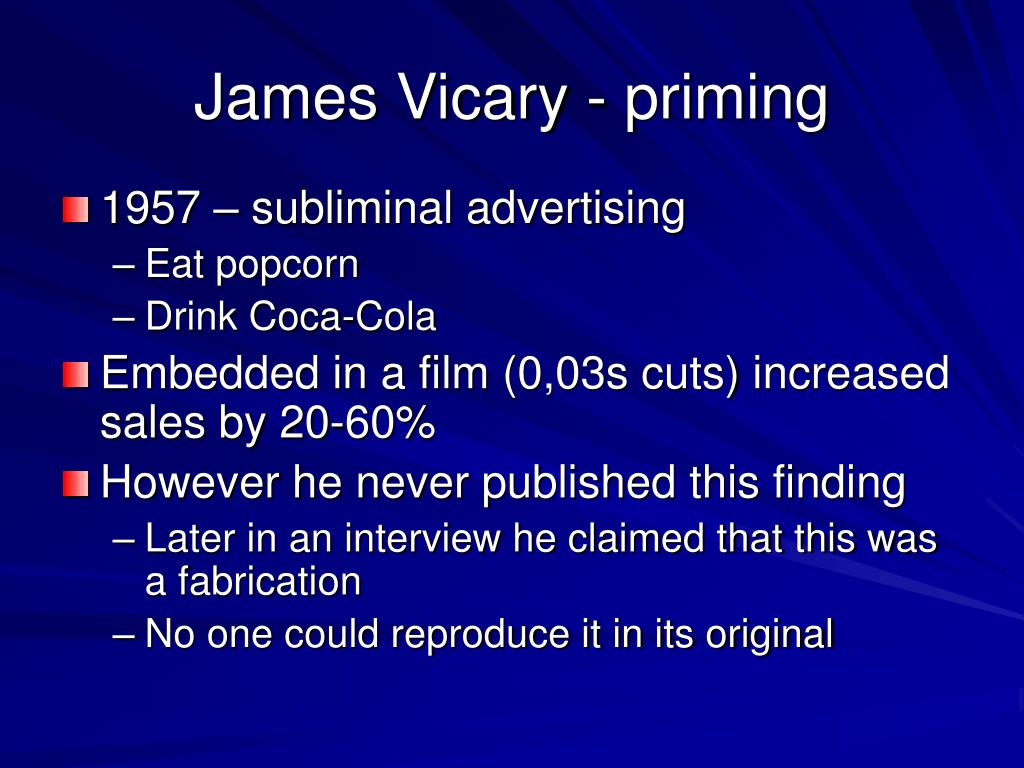 James Vicary - priming