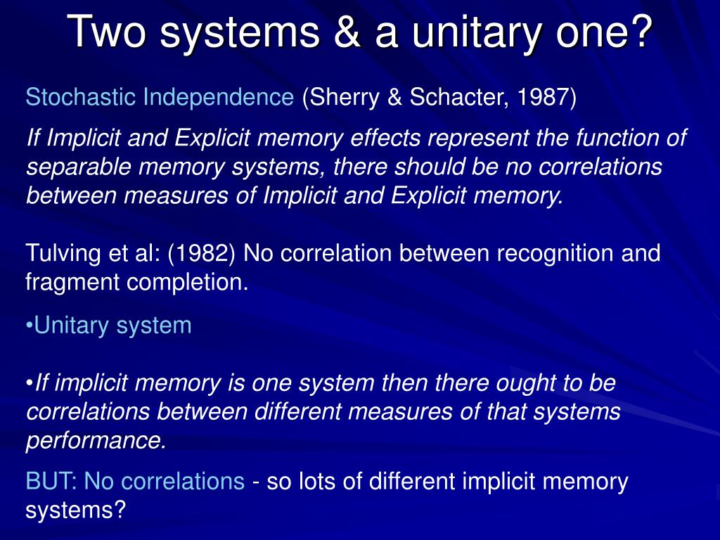 Two systems & a unitary one?