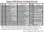 major fdi firms in meiji period