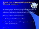 exemption towards reimbursement of medical expenses