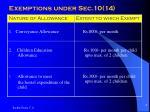exemptions under sec 10 14