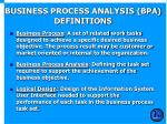 business process analysis bpa definitions