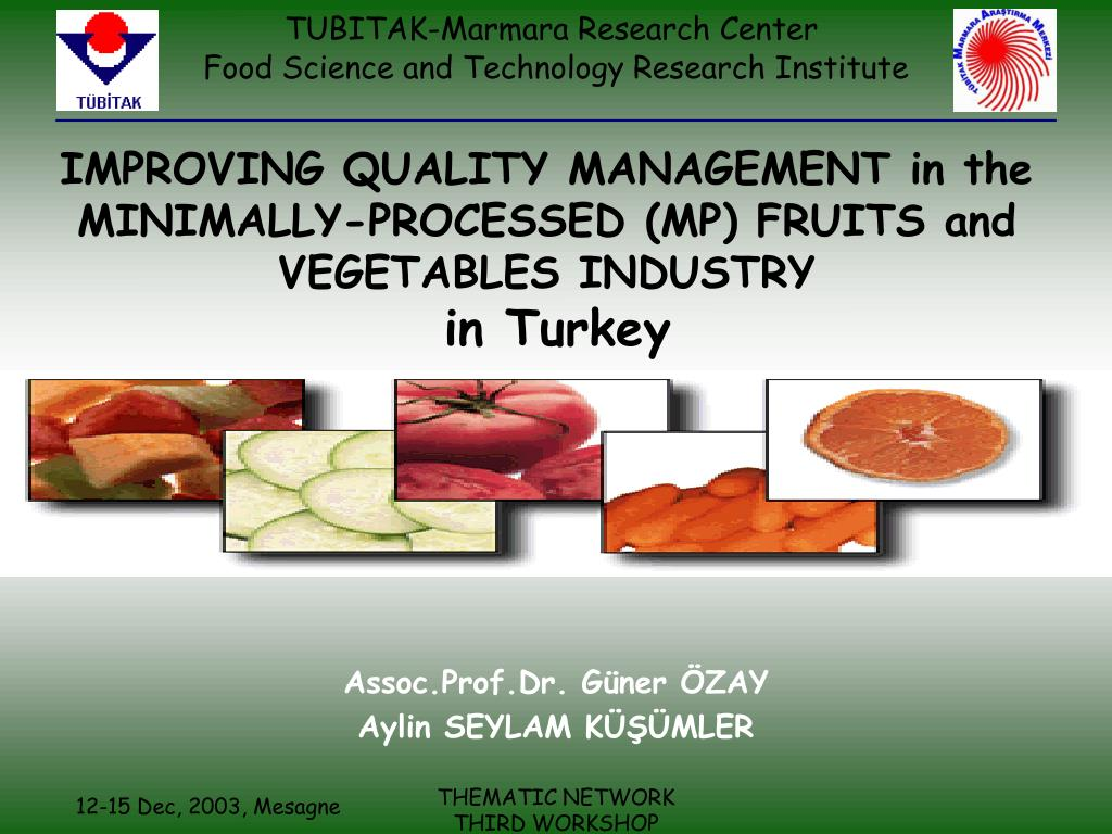 improving quality management in the minimally processed mp fruits and vegetables industry in turkey l.