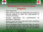 weakness of fresh produce industry