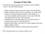format of this talk