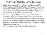 ipv6 traffic visibility on the backbone