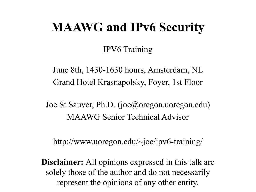 maawg and ipv6 security l.
