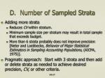 d number of sampled strata