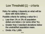 low threshold l criteria