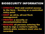 biosecurity information