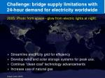 challenge bridge supply limitations with 24 hour demand for electricity worldwide5