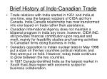 brief history of indo canadian trade