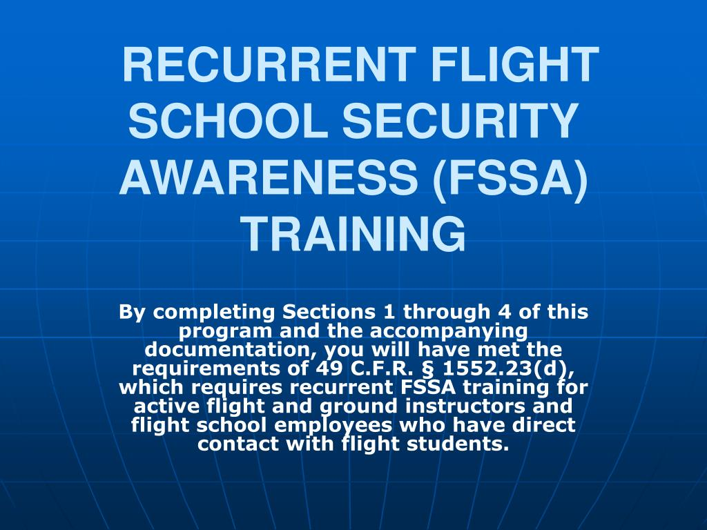 recurrent flight school security awareness fssa training l.