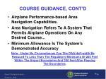 course guidance cont d