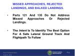 missed approaches rejected landings and balked landings