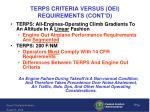 terps criteria versus oei requirements cont d