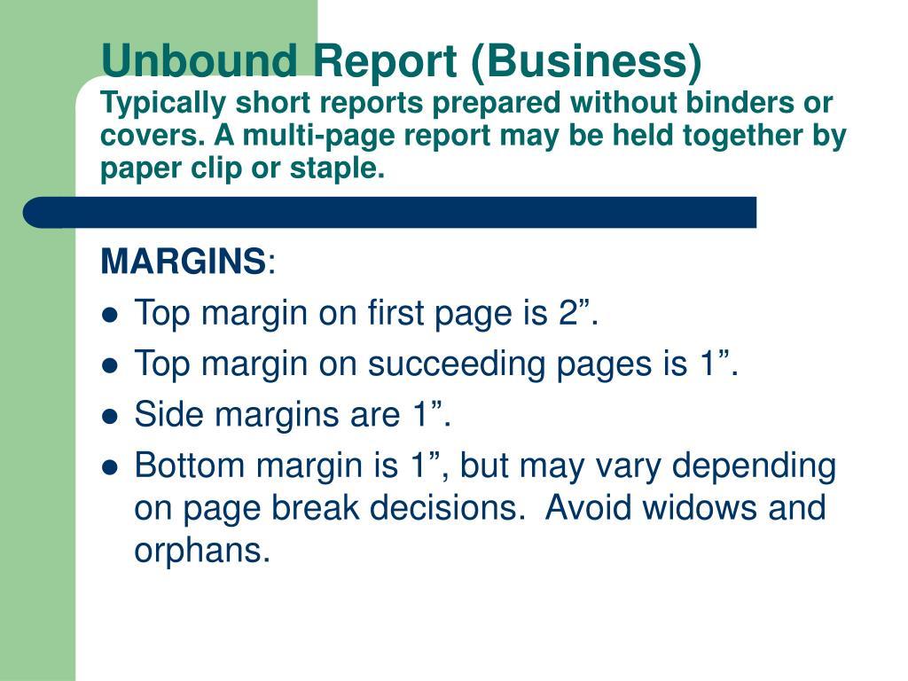 Unbound Report (Business)