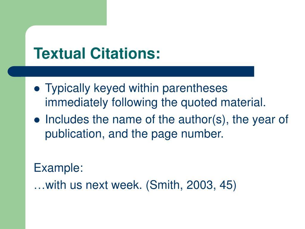 Textual Citations: