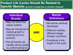 product life cycles should be related to specific markets product categories or product classes