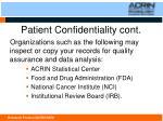 patient confidentiality cont