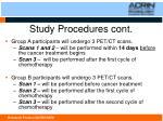 study procedures cont