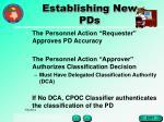 establishing new pds