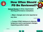 how often should pd be reviewed