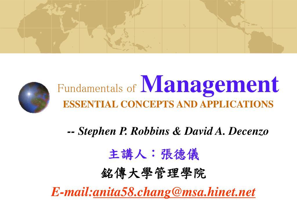 fundamentals of management essential concepts and applications stephen p robbins david a decenzo l.
