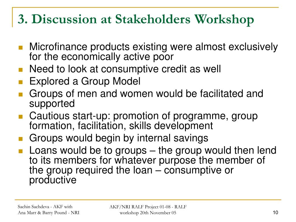 3. Discussion at Stakeholders Workshop