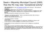 swain v waverley municipal council 2005 how the hc may view recreational activity
