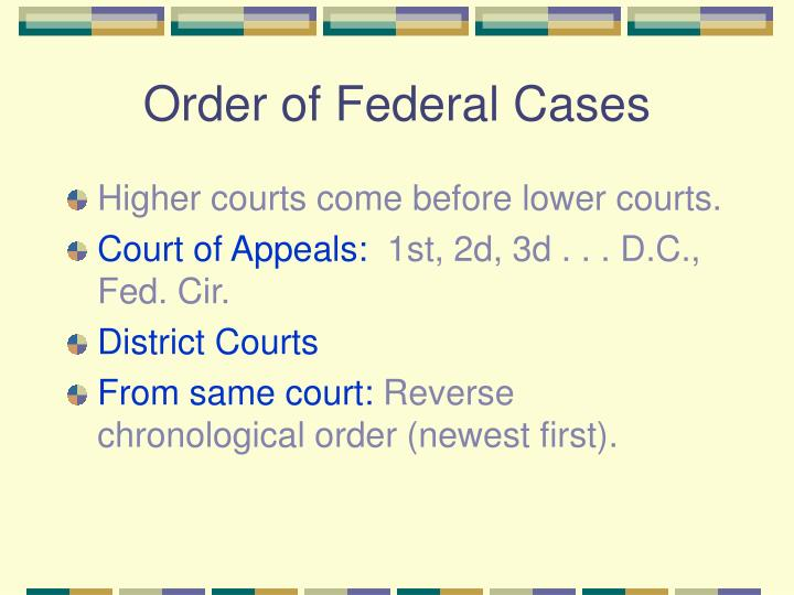Order of Federal Cases