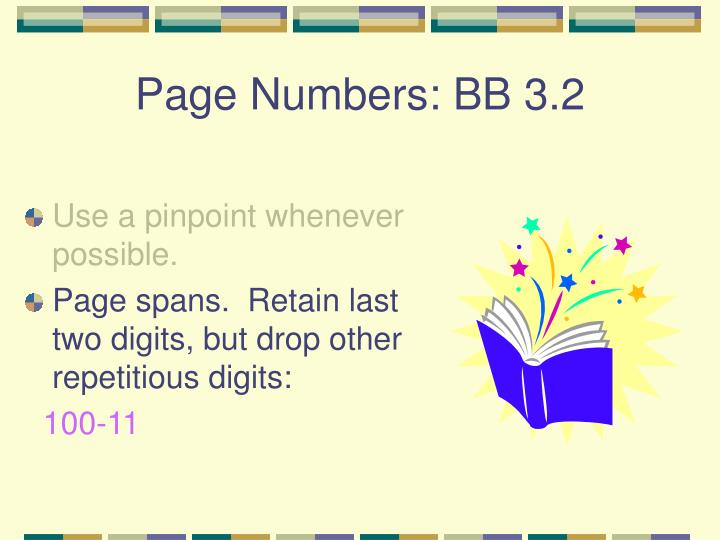 Page Numbers: BB 3.2
