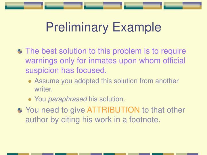 Preliminary Example