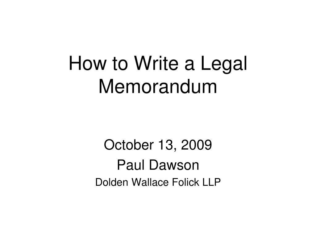 how to write a legal memorandum l.