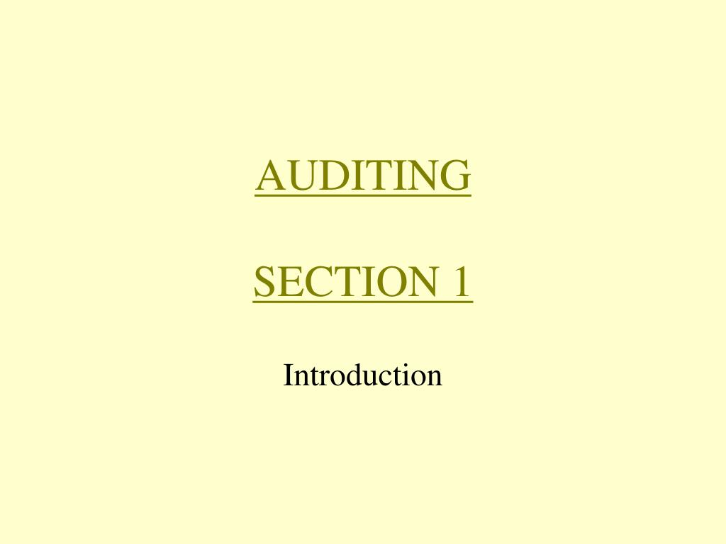 auditing section 1 l.