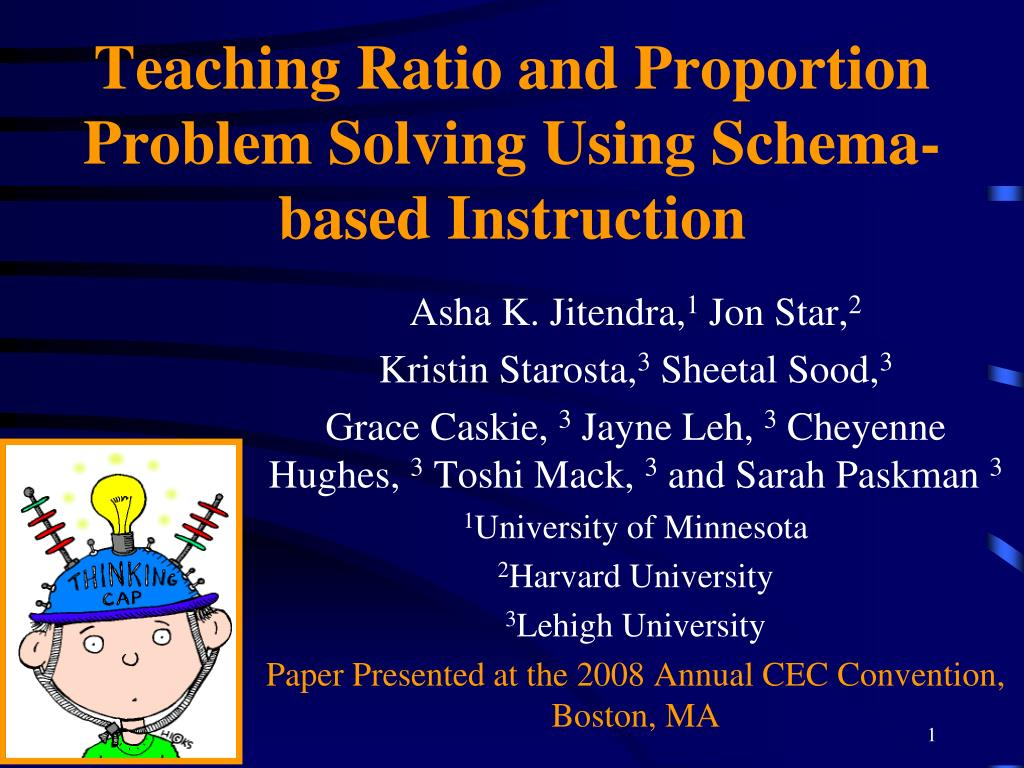 teaching ratio and proportion problem solving using schema based instruction l.