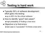 testing is hard work