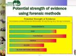 potential strength of evidence using forensic methods